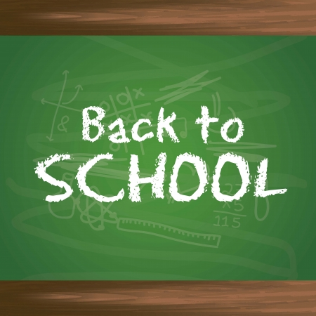 back to school text over chalkboard background. vector illustration Vector