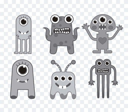 six cute monsters over squares background, gray. vector illustration Vector