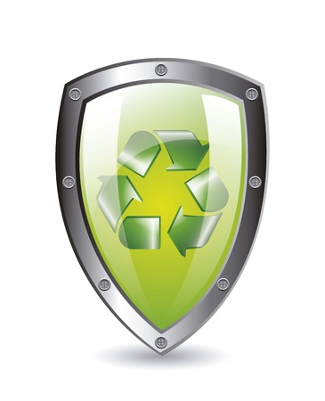 green protection shield with recycle sign with shadow. vector Stock Vector - 14944577
