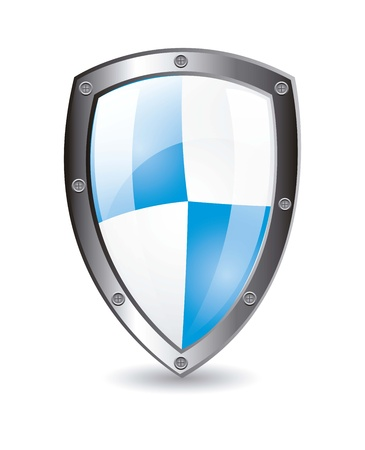 Protection shield with shadow over white background. vector illustration Stock Vector - 14944636