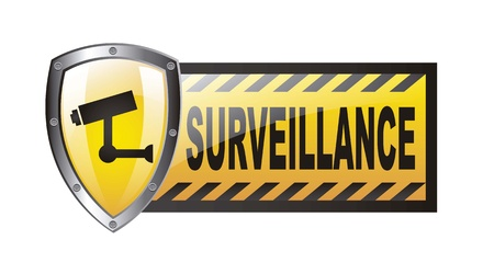 surveillance with protection shield isolated over white background. vector Stock Vector - 14943584