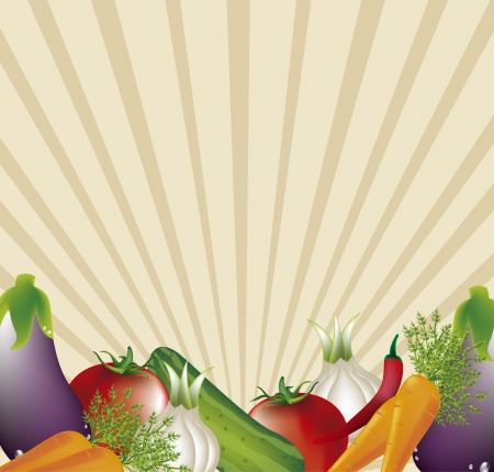 eatable: vegetables with space for copy over brown background. vector illustration Illustration