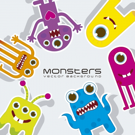 whimscal: colorful monsters over gray background. vector illustration
