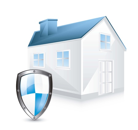 guard house: protection shield with house over white background. vector illustration