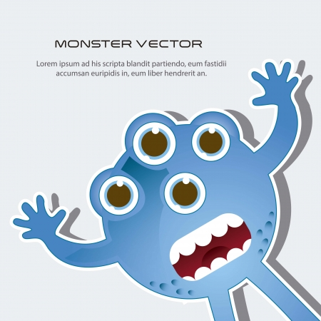 blue scared monster with space for copy. vector illustration Vector
