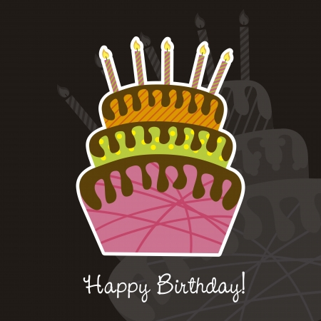 birthday card with cake over black background. vector illustration Stock Vector - 14944591