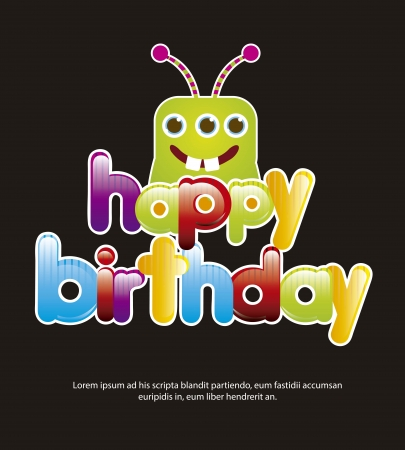 birthday card with cute monster over black background. vector Vector