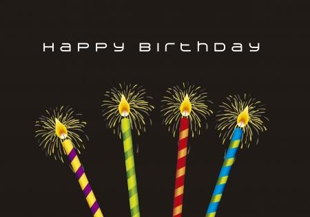 compleanno: birthday card con le candele su sfondo nero. illustrazione vettoriale