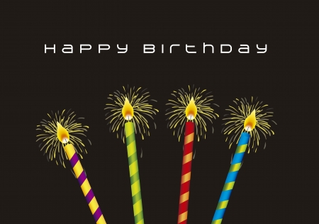 happy birthday candles: birthday card  with candles over black background. vector illustration