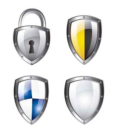 protection shield and padlock isolated over white background. vector Vector
