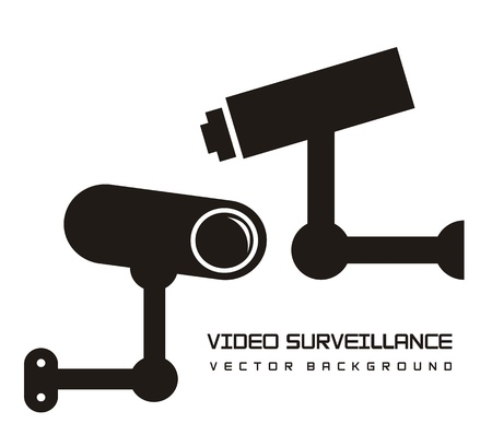 silhouette video surveillance isolated over white background. vector illustration Vector