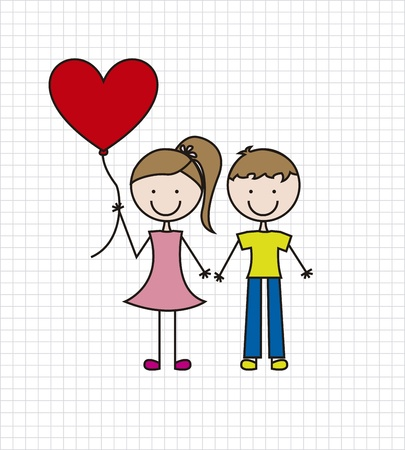 boy and girl with balloon over paper notebook. vector illustration