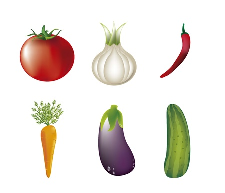 six vegetables isolated over white background. vector illustration Stock Vector - 14944527