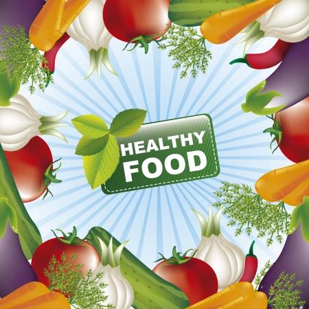 backkground: vegetables with tag over blue background. vector illustration