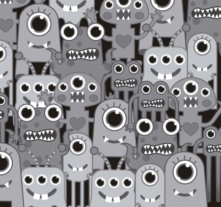 cute monsters background, gray color. vector illustration Vector