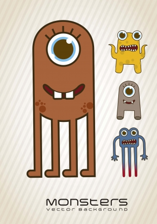 whimscal: vintage monsters over beige background. vector illustration