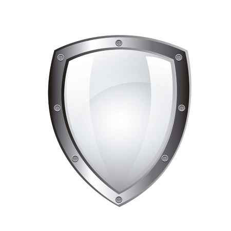 blank protection shield isolated over white background. vector
