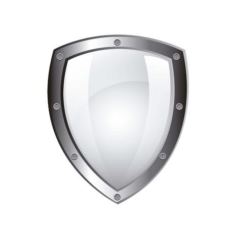 shield emblem: schermo di protezione in bianco isolato su sfondo bianco. vettore Vettoriali