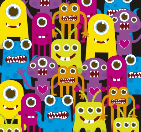 witty: colorful monsters over black background. vector illustration