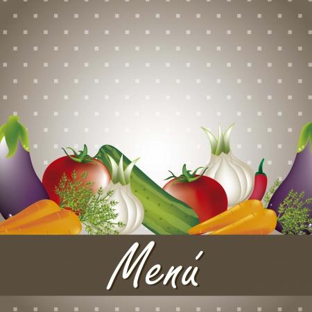 backkground: vegetables over brown background, menu. vector illustration