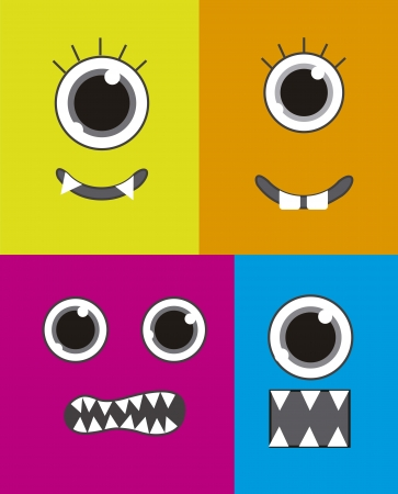 four  monster faces background, colorful. vector illustration Vector