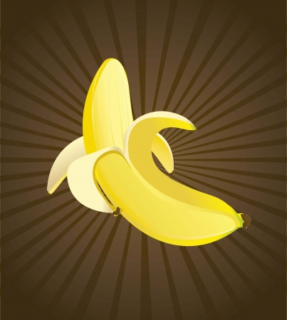banana peel: yellow banana over brown background. vector illustration