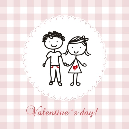 valentines day card with girl and boy, hand-draw. vector Vector