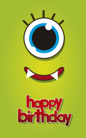 birtday card with green monster face. vector illustration Vector