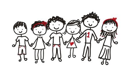 kindergarden: children isolated over white background. vector illustration