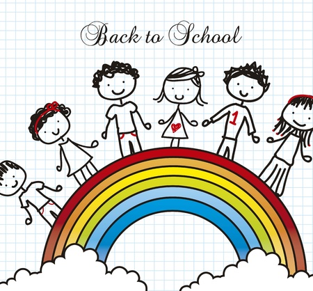 children over rainbow, back to school. vector illustration Vector