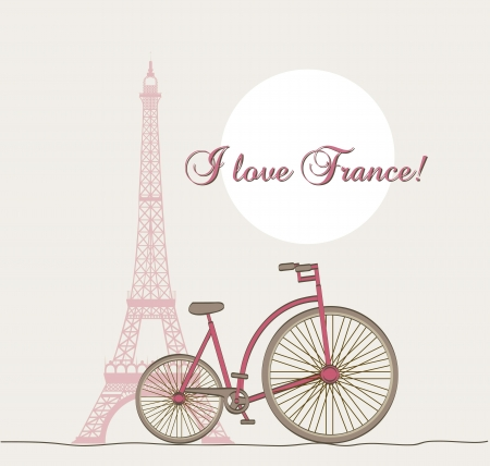 steel beam: i lover france text with tower eiffel and bike. vector illustration Illustration