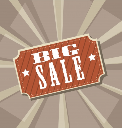 big sale label over vintage background. vector illustration Vector