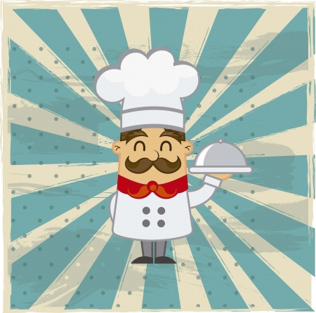 cooking recipe: cartoon chef over grunge background. vector illustration