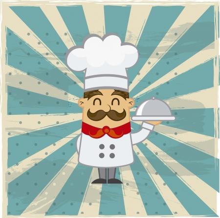 cocinero italiano: dibujos animados cocinero sobre el fondo del grunge. ilustraci�n vectorial