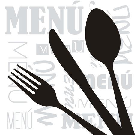 dinner setting: men� con fondo silueta cubiertos. ilustraci�n vectorial
