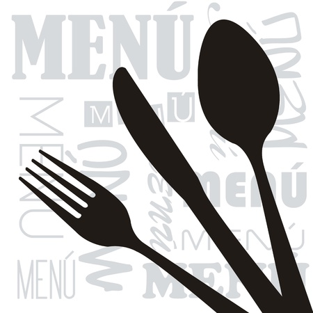 menu with silhouette cutlery background. vector illustration