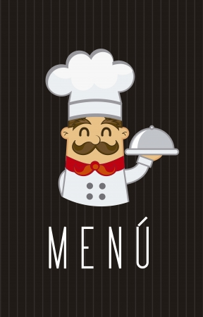 chef caricatura: men� con el cocinero de dibujos animados sobre fondo marr�n. ilustraci�n vectorial