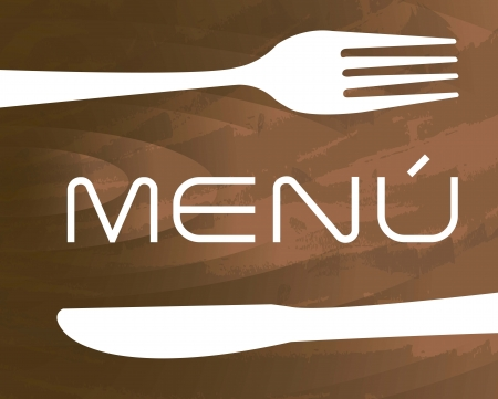 banquet table: menu with cutlery  over wooden texture background. vector