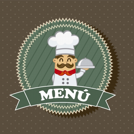 menu label with chef over brown background. vector illustration Vector