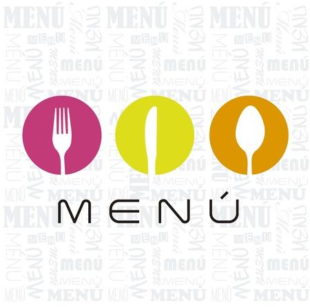 dinner setting: men� con cuberter�a signo sobre fondo blanco. ilustraci�n vectorial