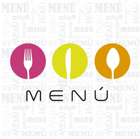 meny: meny med bestick skylt över vit bakgrund. vektor illustration