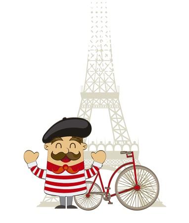 francés de la historieta con la torre Eiffel sobre fondo blanco. vector