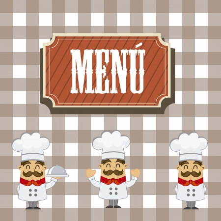 french bakery: menu with cartoon chef over squares background. vector