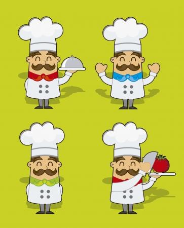 chef caricatura: cocinero de la historieta lindo sobre fondo verde. ilustraci�n vectorial Vectores