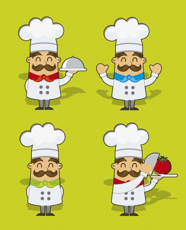 chief: cute cartoon chef over green background. vector illustration Illustration