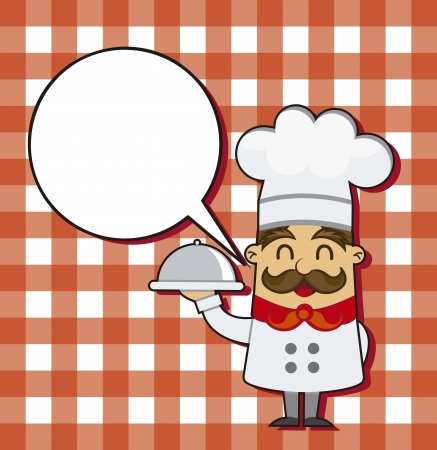 cartoon chef over squares background. vector illustration Vector