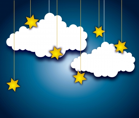 cute clouds and stars over night background. vector illustration