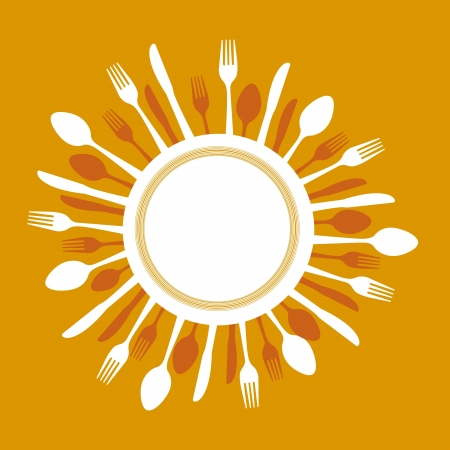 banquet table: dish with cutlery over orange background. vector illustration