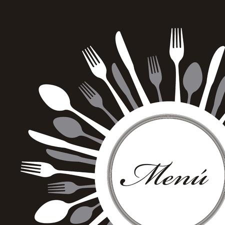menú con cubertería sobre fondo negro. ilustración vectorial