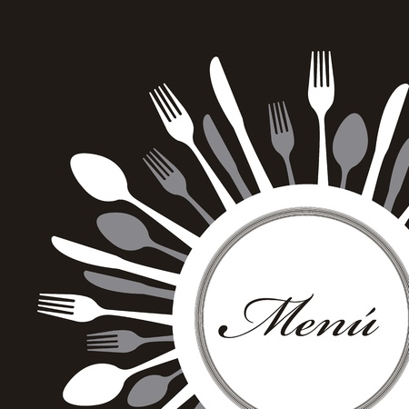 place setting: menu with cutlery over black background. vector illustration